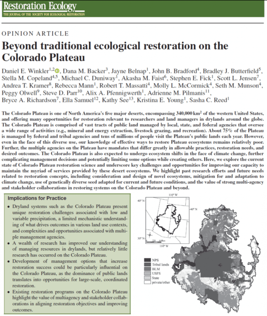 Group commentary on restoration challenges and opportunities in the Colorado Plateau Desert